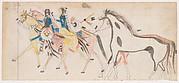 Two Riders Leading Horses (Henderson Ledger Artist B)