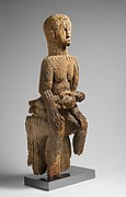 Figurative Element from Ceremonial Drum [?]: Seated Female and Child