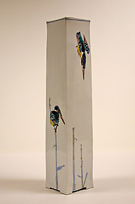 Tall Vase with Kingfishers