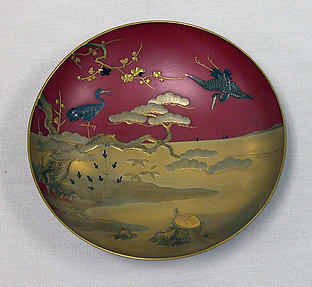 蓬莱蒔絵盃<br/>One of a Pair of Wine Cups (Sakazuki) with Mount Hōrai