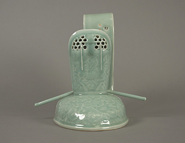 Incense Burner in the Shape of a Courtiers Cap with Design of Scrolling Peonies