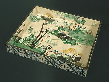 Square Dish with Spring Flowers