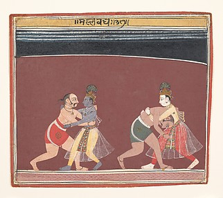 Krishna and Balarama Fight the Evil King Kamsa's Wrestlers: Page from a Dispersed Bhagavata Purana