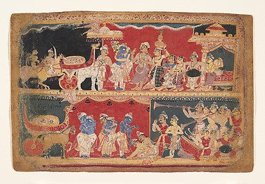 Krishna Is Welcomed into Mathura: Page from a Dispersed Bhagavata Purana Manuscript