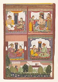 Four Love Scenes and a Landscape: Page from a Dispersed Raskapriya