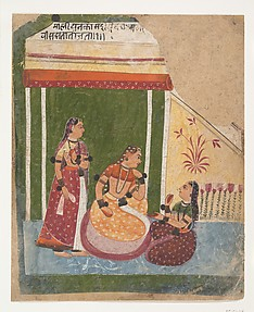 Ladies in a Pavilion: Page from a Dispersed Ragamala Series (Garland of Musical Modes)