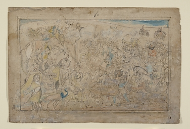 Durga, Kali, and Five Matrikas Battle the Daitya Army of the Demon Shumbha: Scene from the Devi Mahatmya