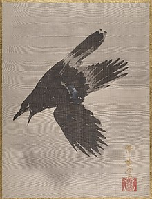雪中鴉図<br/>Crow Flying in the Snow