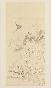 Butterflies, Bird, Lotus, and Rock, after Chen Hongshou