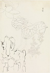Lotus, Rock, and Flower Study, after Chen Hongshou
