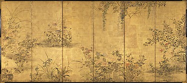 花野菜四季図屏風<br/>Flowering Plants and Vegetables of the Four Seasons