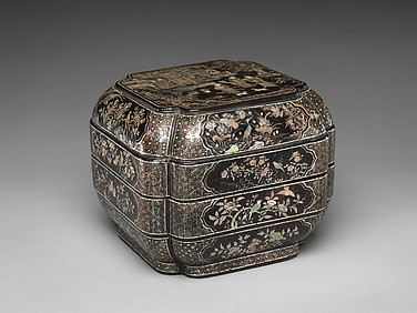 Tiered Box with Figural Scene, Flowers, and Birds