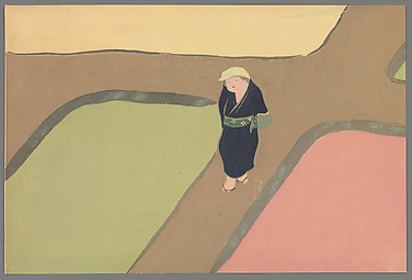 """Rice Paddies in Spring"" (Haru no tanomo), from Flowers of a Hundred Worlds (Momoyogusa)"