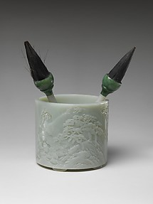 Brush Holder with Poet Li Bai, Two Brushes, and Ornament (Ruyi)