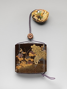 Inrō with Peacocks and Flowers