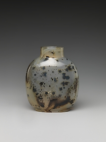 Snuff Bottle with the Artist Mi Fu Bowing to a Rock