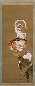 Hen and Rooster with Grapevine