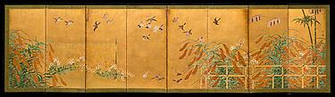 伝狩野山楽筆 粟に小禽図屏風 <br/>Autumn Millet and Small Birds