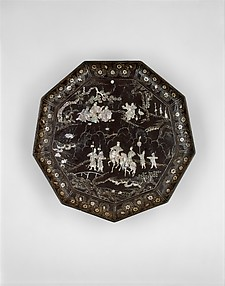 山水人物紋螺鈿漆盤<br/>Tray with Figures in a Landscape