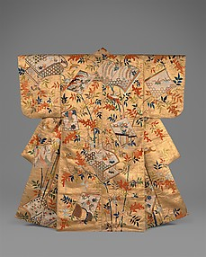 Noh Costume (Nuihaku) with Books and Nandina Branches