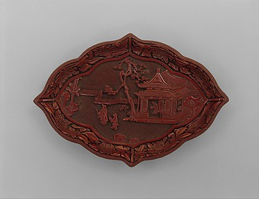 中國 明 剔紅山水人物圖盤<br/>Lozenge-Shaped Dish with Figures in a Landscape