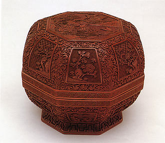 Octagonal Box with Scene of Immortals and Vignettes of Flowers
