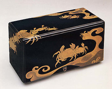 Box of Five Trays with Decoration of Crabs and Waves