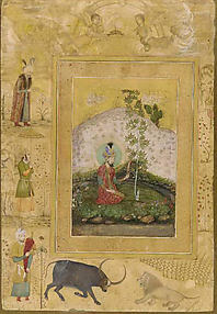 Humayan Seated in a Landscape with a Plane Tree, Admiring a Turban Ornament: Page from the Late Shah Jahan Album