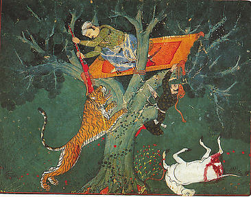 Rao Bhoj Singh Stalking a Tiger at Night