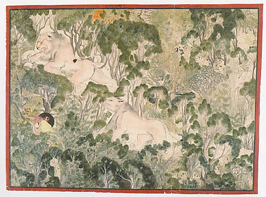 Rao Bhoj Singh of Bundi Slays a Lion