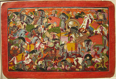 Battle of the Kauravas and Srinjayas: Folio from a Bhagavata Purana Series