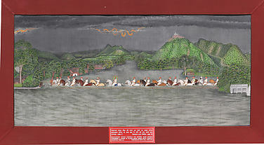 Maharana Fateh Singh's hunting party crossing a river in a flood