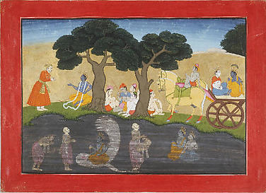 Akura's Mystic Vision of Vishnu on the Serpent Adisesha: Folio from a Bhagavata Purana