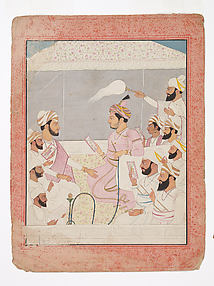 Maharaja Sansar Chand of Kangra Enjoys Paintings with His Courtiers