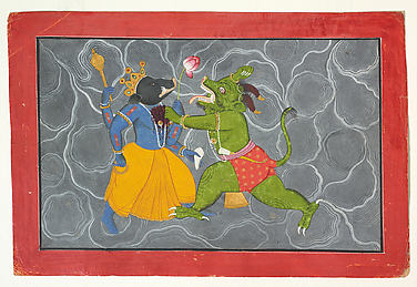Varaha and Hiranyaksha: Folio from a Bhagavata Purana Series