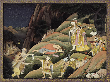 Shiva and Parvati Descend from Mount Kailash: Folio from a Shiva Purana Series