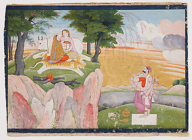 Banasura's Penance; His Vision of Shiva and Parvati: Folio from an Usha-Aniruddha Series