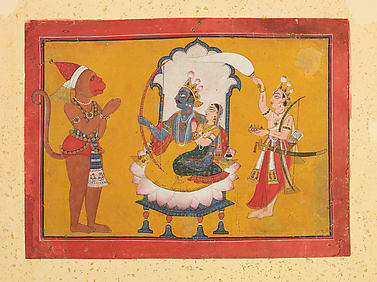 Hanuman Paying Homage to Rama: Folio from a Dasavatara Series