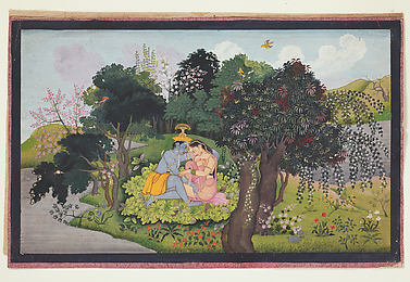 Krishna with Radha in a Forest Glade: Folio from the Second Guler Gita Govinda Series