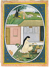 Radha Preparing Food while Krishna has a Dalliance with a Gopi: Folio from a Bihari Satsai Series