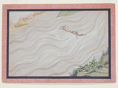 Rama and Companions Crossing the Ganges into Exile: Folio from a Ramayana Series