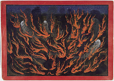 The Palace of the Pandava Brothers Set Ablaze: Folio from a Bhagavata Purana Series
