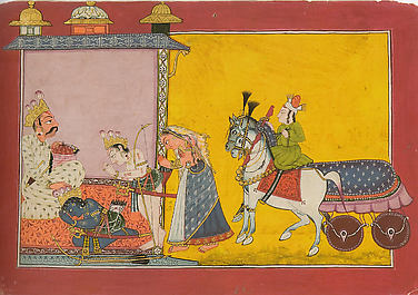 Sita, Rama and Laksmana Go into Exile: Folio from the Shangri I Ramayana Series