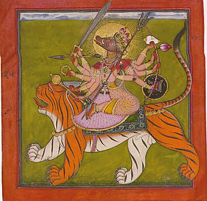 The Boar-faced Goddess Varahi Riding her Tiger: Folio from a Tantric Devi Series