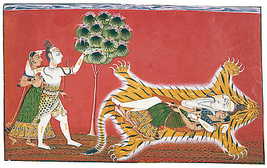 Shiva and Parvati as Ardhanishvara: Folio from the Rasamanjari II Series