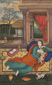 Mother and Child with a White Cat: Folio from a Jahangir Album
