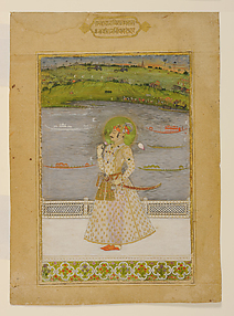 Raj Singh on a Terrace Enjoying a View of Royal Barges and Military Formations Beyond