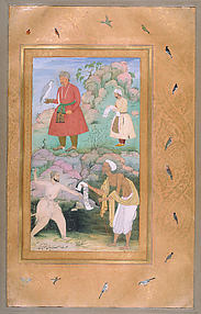 Akbar with Falcon Receiving Itimam Khan, while below a Poor Petitioner Is Driven Away by a Royal Guard: Page from a Jahangir Album