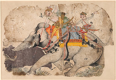 Ram Singh I of Kota Hunting Rhinoceros