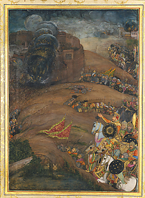 Nasiri Khan Directing the Siege of Qandahar, May 1631: Folio from the Windsor Padshahnama